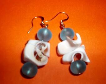 Seashell and Sea glass Earrings