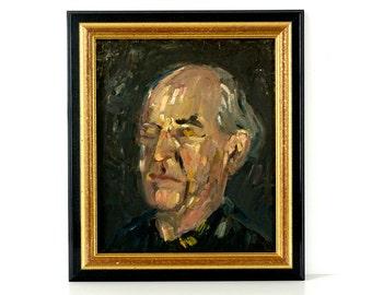 Vintage Art - Abstract Expressionist Original Oil Painting - Portrait Art - Mid Century Art - Modern Art - Framed Original Artwork