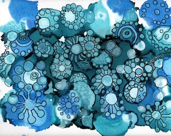 Original_peinture abstract of winter flowers and flocons_a alcohol ink and dessin9