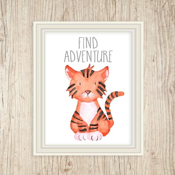 Safari Animal Prints, Jungle Nursery Decor, Art for Kids, Baby Print, Baby Decor, Watercolor Tiger Nursery Art, Baby Animal Art, Safari Art