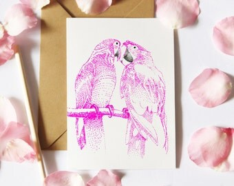 Pink Love Bird Card, Love Notecard, Bird Notelet, Birthday Card, Thank You Card, Anniversary Card, Card For Her, Tropical Notecard