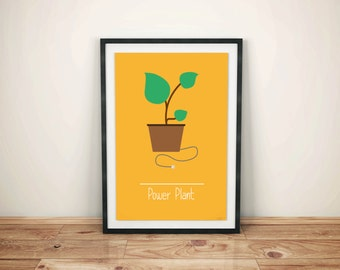 Funny Minimalist Poster, Funny Minimaliste Printable, Wordplay Power Plant- Phonetical Illustration - Funny - Wall Decor - Home Decor