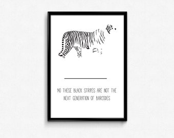 Tiger Minimalist Map Poster, Ecolgogy Tigre disappearance; Stripes, Barcode