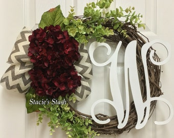 Fall Wreath, Front Door Wreath, Personalized Wreath, Wreath with Letter
