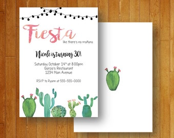 Fiesta Watercolor Cactus Printable Invitation