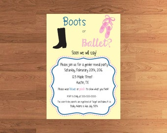 Boots or Ballet Baby Gender Reveal Invitation