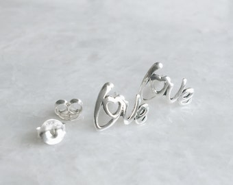 """Love ear studs, Sterling silver """"love"""" studs, Valentines earrings, Minimal earrings, Minimal studs, Love earrings (ES271)"""