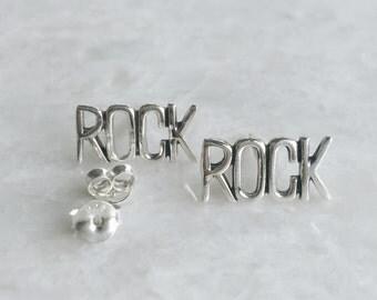 """Rock ear studs, Sterling silver """"rock"""" studs, Rock earrings, Funky earrings, (ES272)"""