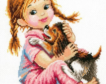 Cross Stitch Kit You are my good dog! (girl and dog)