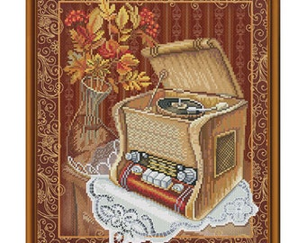 Cross Stitch Kit Old gramophone