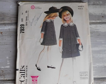 Vintage from 1965 McCalls Pattern # 7929 Girl's Dress Size 14