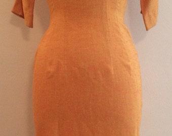 Sorbert Orange 1950s Wiggle Dress