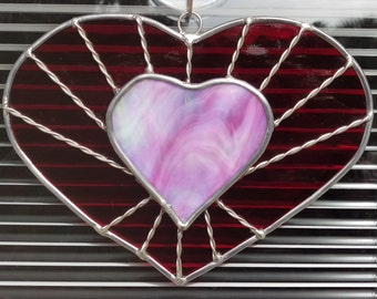 Stained Glass Red Heart with Pink Overlay aka Heartstrings