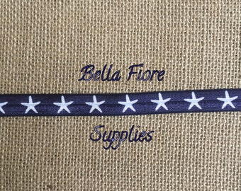 Navy Blue Starfish Fold Over Elastic- Beach Headband- Nautical FOE- 5/8 inch elastic- Wholesale- DIY Headband- Sparkly FOE- Glitter foe