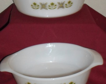 Fireking Green Meadows Casserole bowls