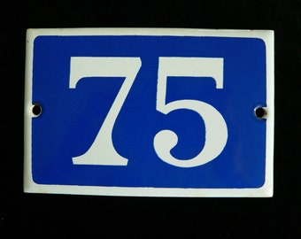 Vintage French blue and white thick enamel house or gate number - No. 75