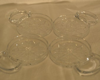 Fostoria American Lead Crystal Coasters with Spoon/Cigarette Rest - Vintage Item #2775
