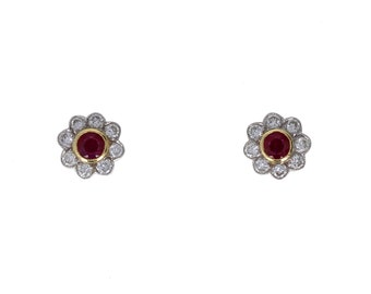 18ct Gold Ruby and Diamond Daisy Cluster Earrings