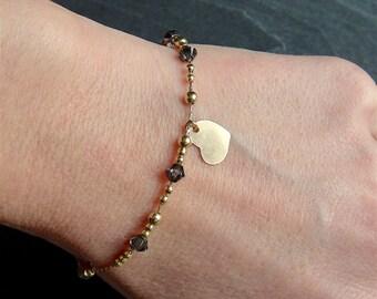 Valentine - end Bracelet in gold gold filled 14 k with heart charm