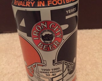 Collectors Iron City beer can: Steelers vs. Browns 1995. Never opened!