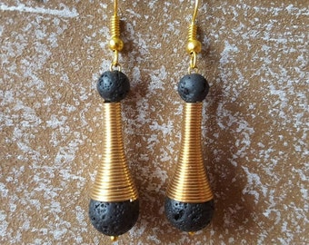 Lava - earrings gemstone earrings lava stones earrings gold plated
