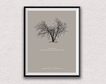 If I lay Here personalised print, snow patrol, lyric print, tree print, chasing cars, personalised art