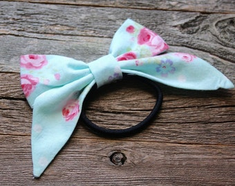 Light Blue Floral Hair Bow