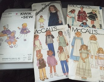 1980s Lot of 5 Vintage Baby Girl Dress Patterns from QuikSew McCalls Simplicity