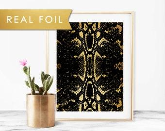 Black Snakeskin Real Gold Foil Art Print 11x14, 8x10, 5x7
