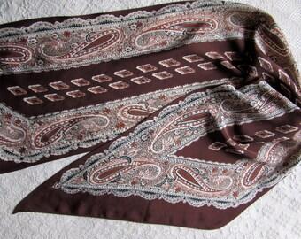 Vintage 1930's bias cut silk crepe scarf paisley patterned in browns