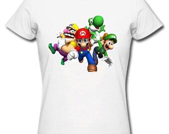 Mario brothers t shirt luigi princess peaches nintendo wiisuper mario bros first class post uk adults &kids