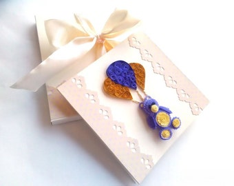 Teddy bear greeting card/Quilling card/Birthday card/Childrens greeting card/