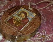 Icons front and back on 1 year dried wood from Olive Tree. Produced by the Monks of the Holy Monastery Virgin Mary Paramithia, Rhodes.