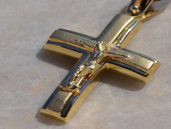 mens 14k gold cross necklace pendant greek orthodox by. Black Bedroom Furniture Sets. Home Design Ideas