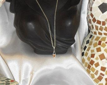 "Opal Necklace ""fire"" stone thin semi precious and Silver 925"