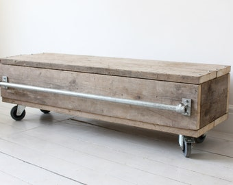 Violet Reclaimed Scaffolding Board Long Low Coffee Table or Media Unit with Drawer on Castors