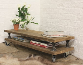Cassie Chestnut Stained Reclaimed Scaffolding Board Shelved Coffee Table with Dark Steel Risers and Rubber Castors - www.urbangrain.co.uk
