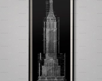 EMPIRE STATE BUILDING Blueprints, Architecture Plans, Elevations, nyc architecture, Chrysler Elevations, Wall Decor, Wall Art, Architect