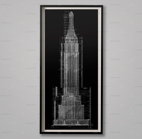 Empire state building blueprints architecture plans like this item malvernweather Image collections