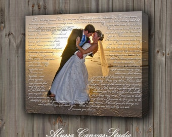 Wedding Canvas Gift, Vows to Cotton Canvas, First Dance Lyrics, Personalized Gift for Her/Him, His/Hers Vows to Canvas, Picture to Canvas