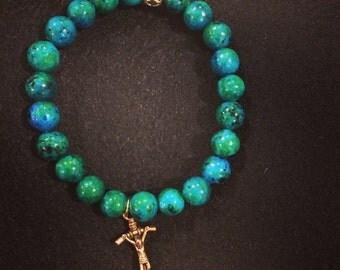 Chrysocolla beaded bracelet