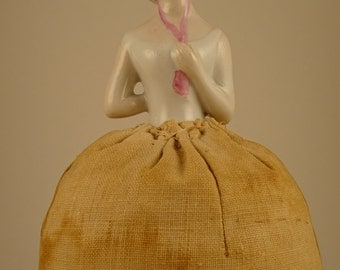 Sweet Vintage Pincushion Half-Doll With Yellow Hair