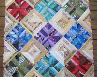 Strings Style Diamonds on Point Baby or Lap Quilt 48 x 48