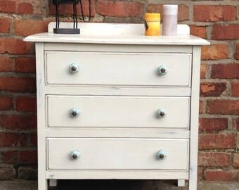 Upcycled Shabby Chic Vintage Early 20s Handpainted Chest of Drawers