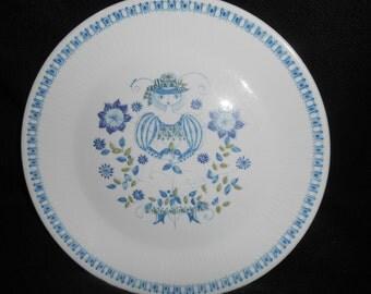 "Vintage Turi Design LOTTE 10"" DINNER PLATE ~ Woman ~ Hand Painted Silkscreen Scandinavian Folk Art Figgjo Flint Norway"
