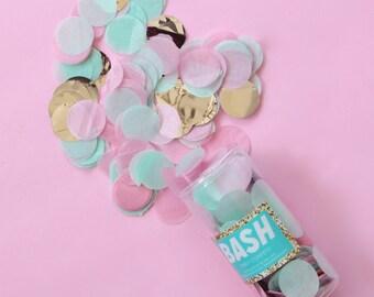 """Tissue Paper Confetti - Pastel Pink, Mint, and Silver - metallic confetti - balloon confetti - 1"""" round circular confetti circle - birthday"""
