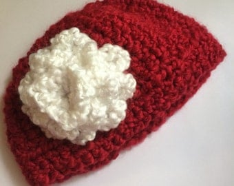 Rich Red and white 3-6 month crochet beanie