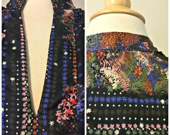 Unique Retro 70s Floral Mandarin V Neck Blouse | Styled by Sybil | Mod | Vintage Polyester | Peasant Top | Made in USA