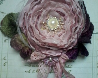 Silk rose brooch/corsage,hair accessory,mother of the bride,shabby chic brooch,romantic