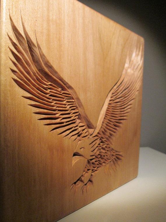 Eagle carved chip carving wood wooden